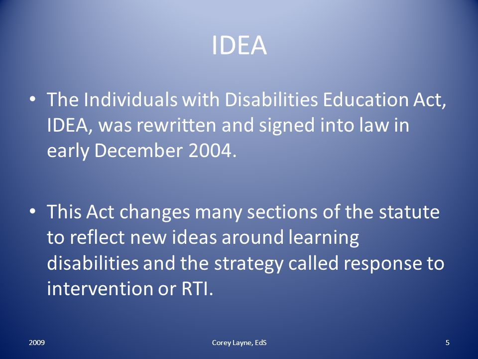a introduction into individuals with disabilities act The no child left behind act (nclb)and the individuals with disabilities  new  requirements introduced in nclb were intended to increase the quality and.