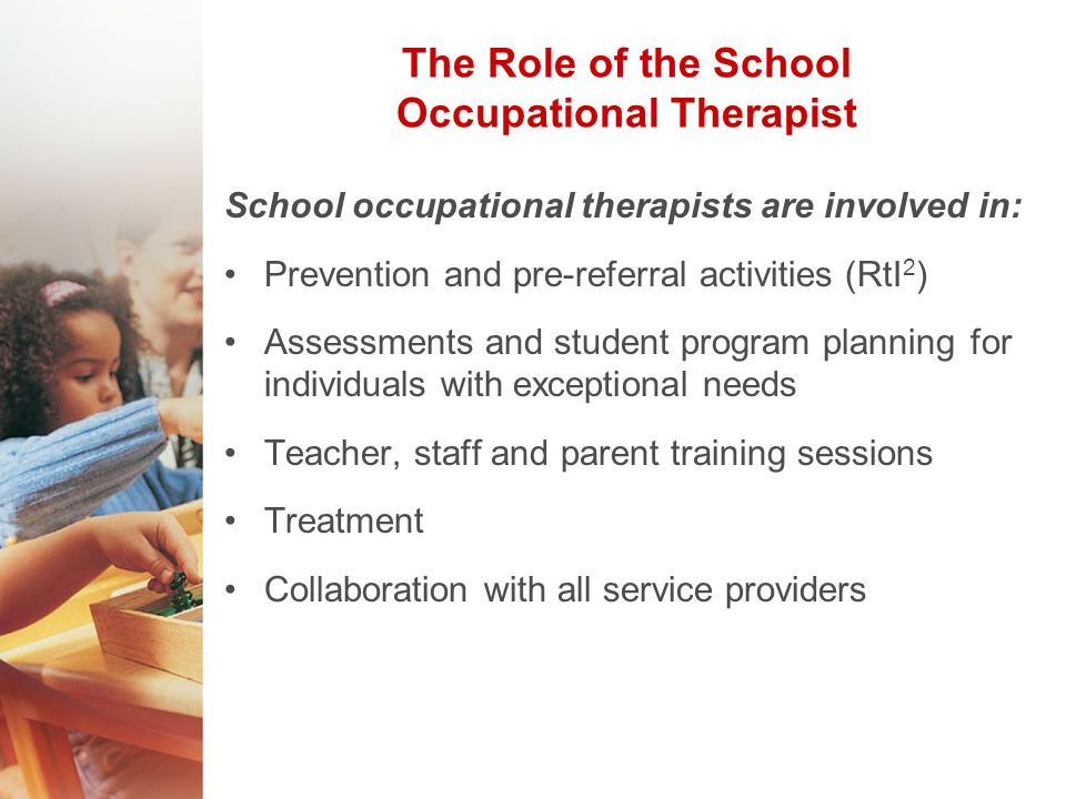 the role of an occupational therapist A introduction b occupational therapy and occupational therapists in canada c the roles of occupational therapists d the practice context of occupational therapists in canada e fluid and dynamic competency development f performance expectations for competent practice of occupational therapists.