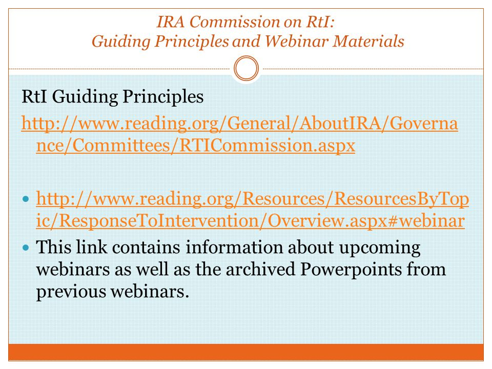 IRA Commission on RtI: Guiding Principles and Webinar Materials