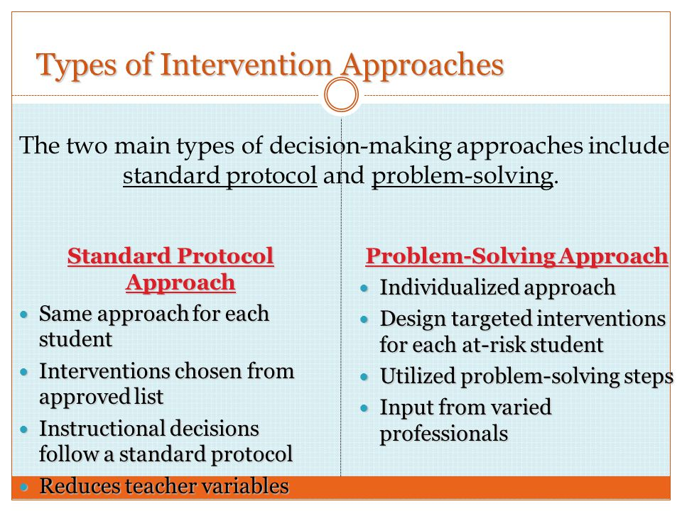 Types of Intervention Approaches