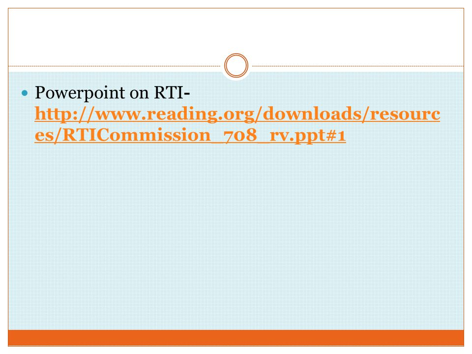 Powerpoint on RTI-   reading