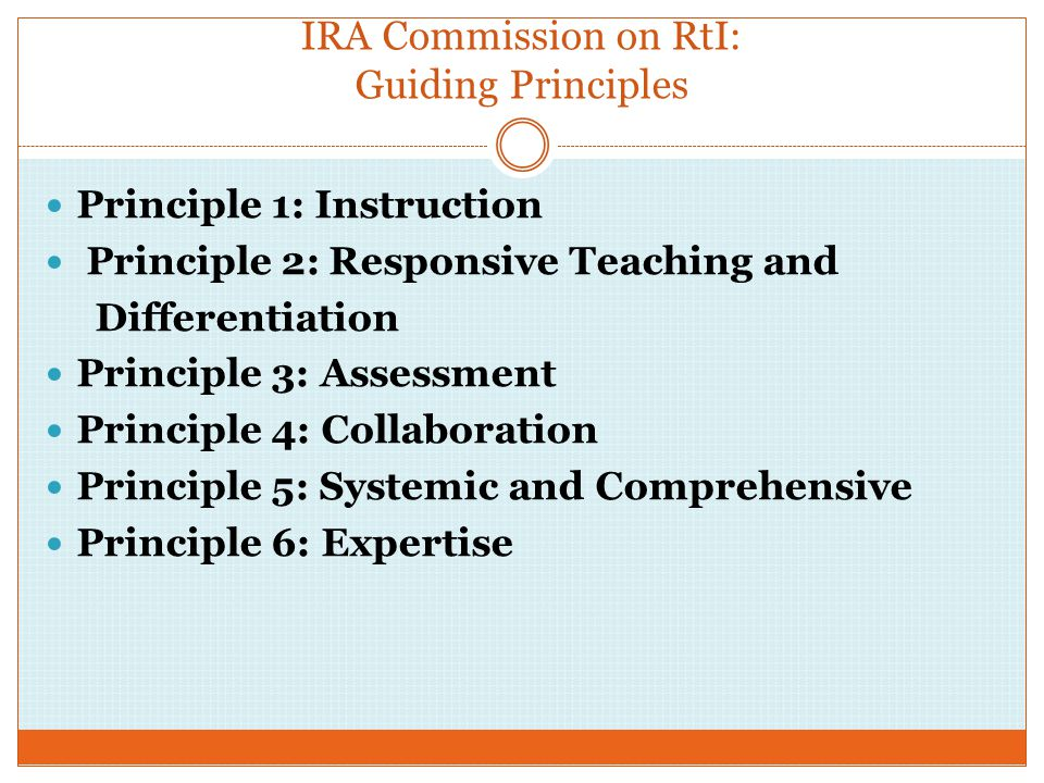 IRA Commission on RtI: Guiding Principles