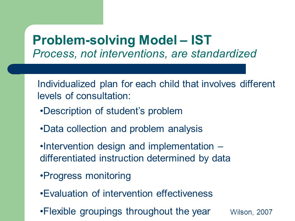 Problem-solving Model – IST Process, not interventions, are standardized