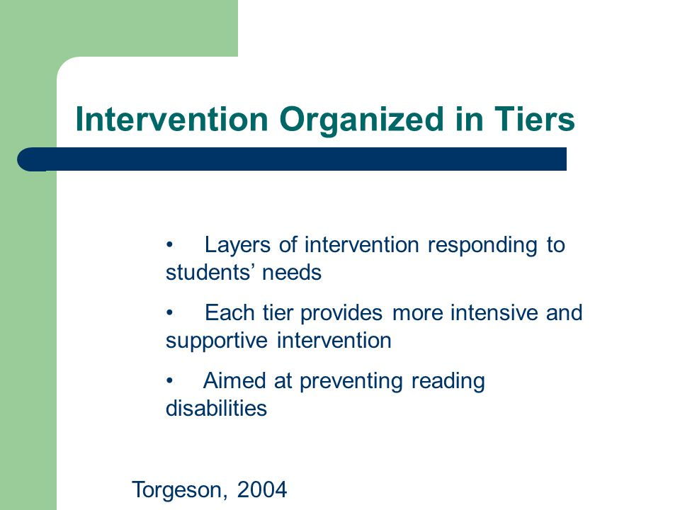 Intervention Organized in Tiers