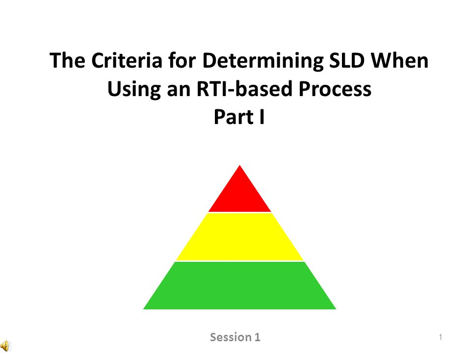 The Criteria for Determining SLD When Using an RTI-based Process Part I