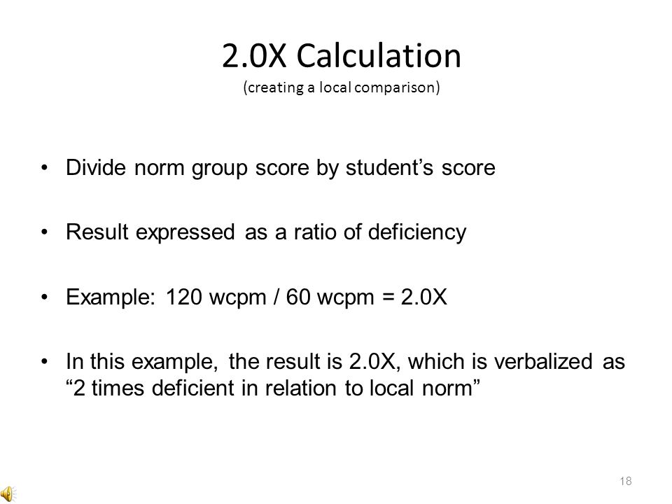 2.0X Calculation (creating a local comparison)