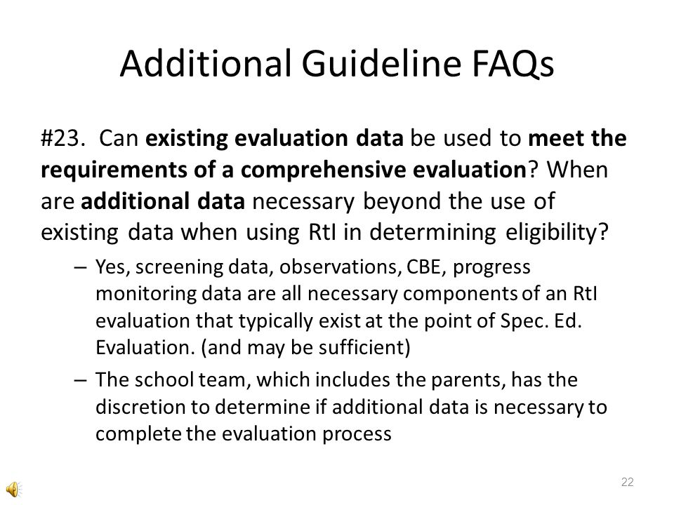 Additional Guideline FAQs