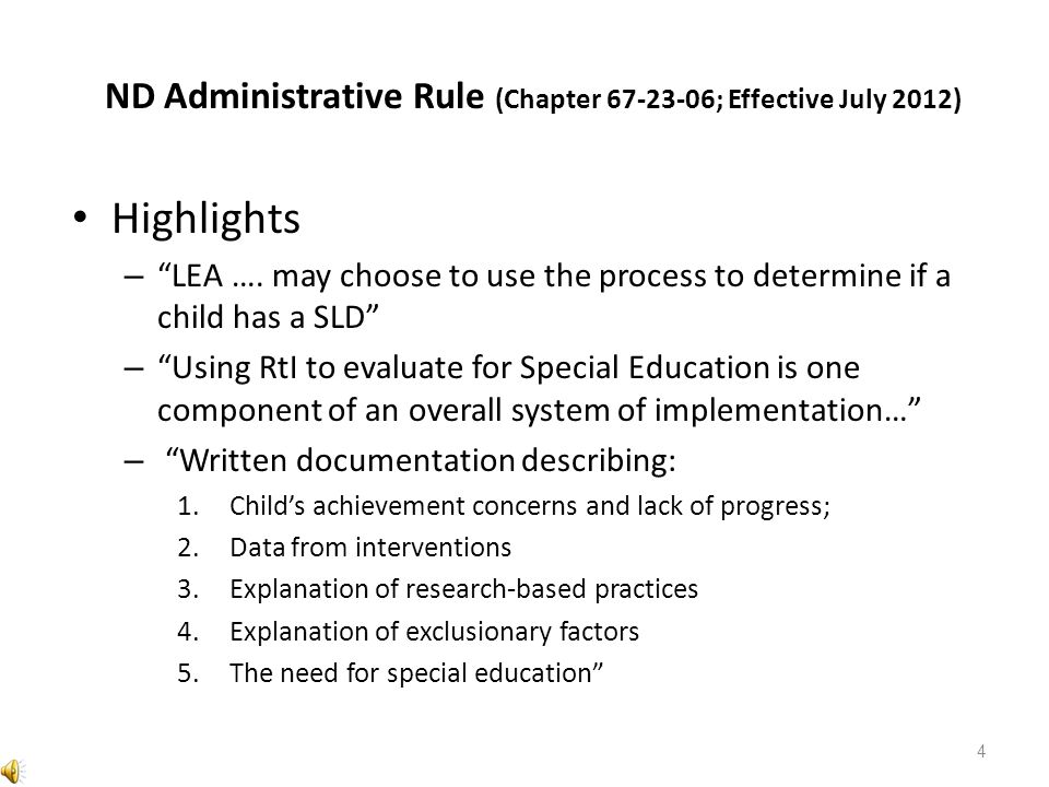 ND Administrative Rule (Chapter ; Effective July 2012)