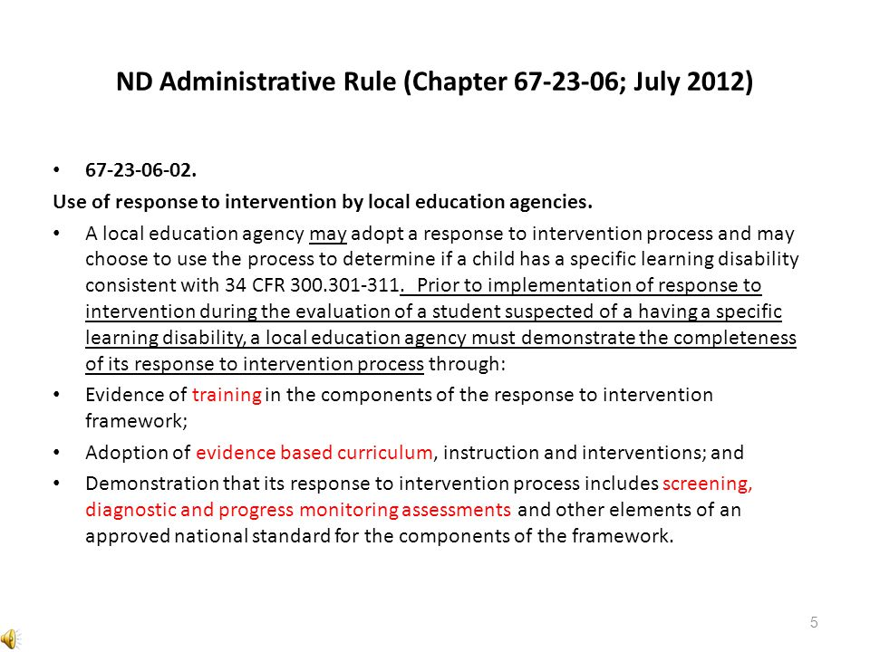 ND Administrative Rule (Chapter ; July 2012)