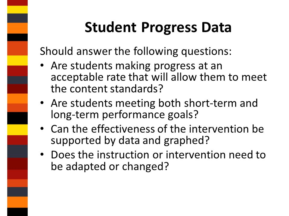 Student Progress Data Should answer the following questions: