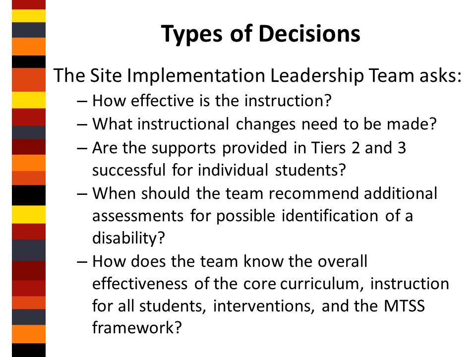 Types of Decisions The Site Implementation Leadership Team asks: