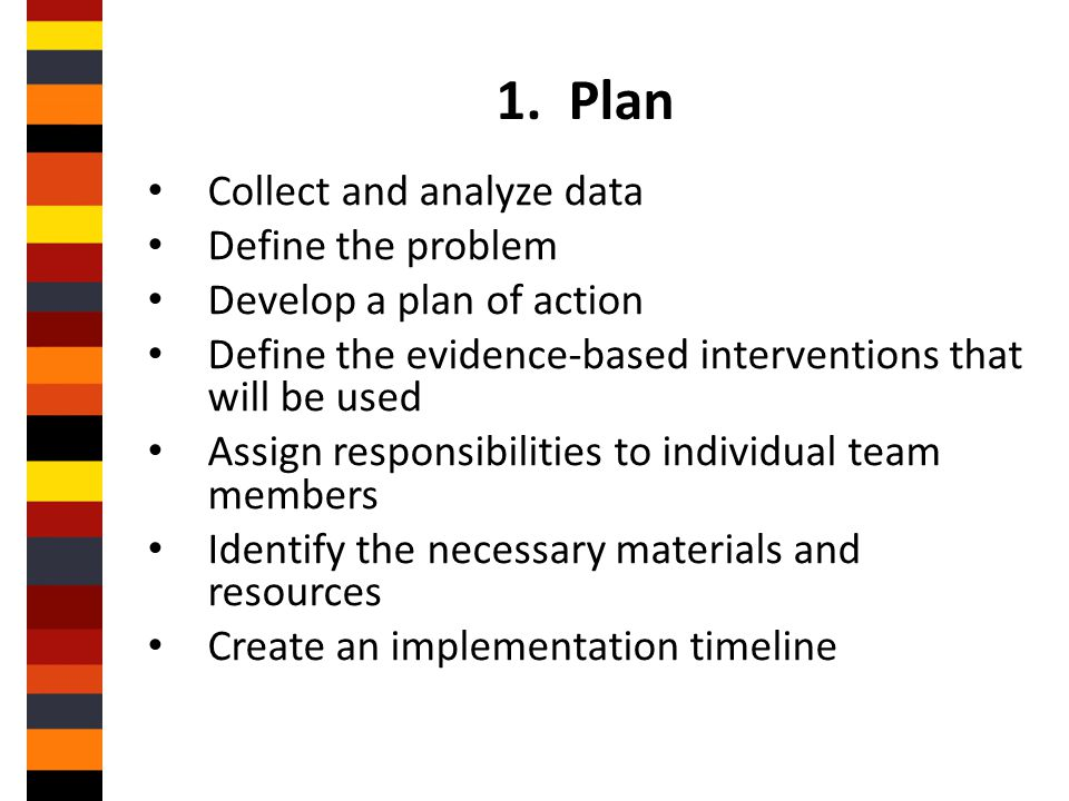 1. Plan Collect and analyze data Define the problem