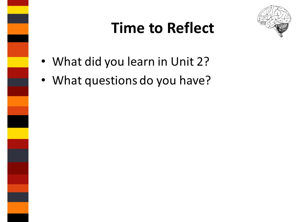 Time to Reflect What did you learn in Unit 2