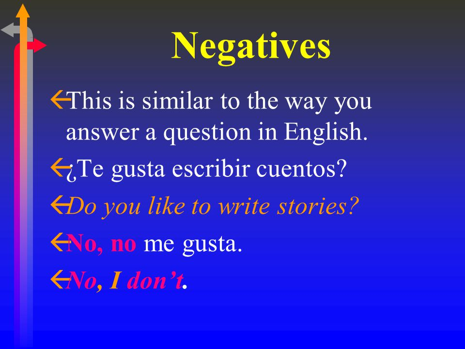 Negatives This is similar to the way you answer a question in English.