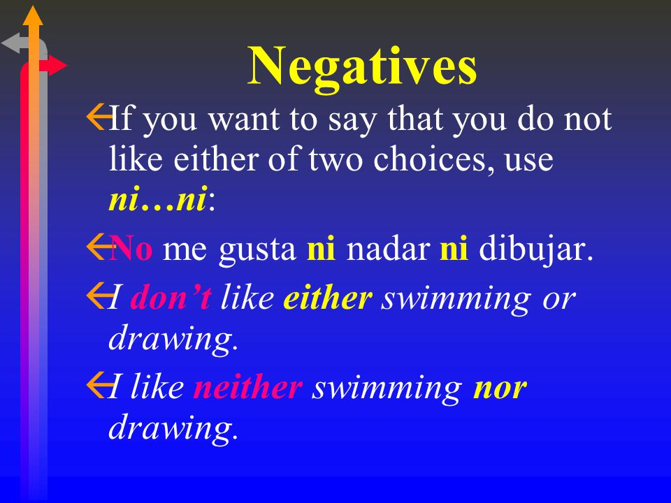 Negatives If you want to say that you do not like either of two choices, use ni…ni: No me gusta ni nadar ni dibujar.