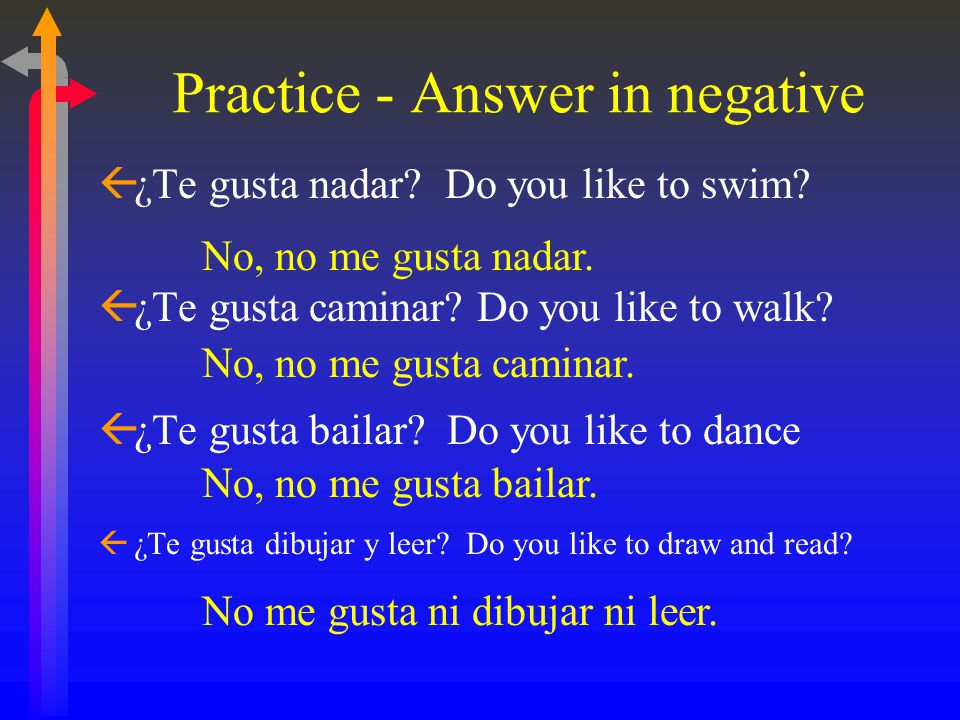 Practice - Answer in negative