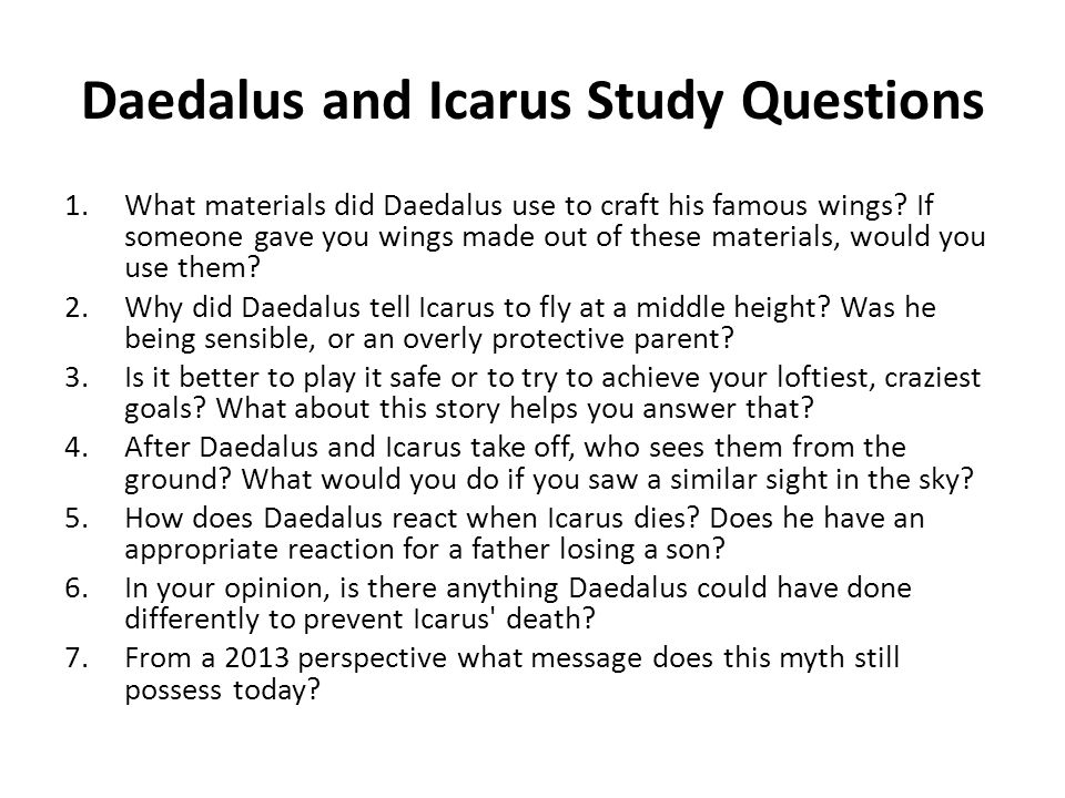 an analysis of the myth of icarus and deadalus - icarus and the myth of deconstruction in all three texts, it is the act of analysis which seems to occupy the center of the discursive stage, and the act of analysis of the act of analysis which in some way disrupts that centrality.
