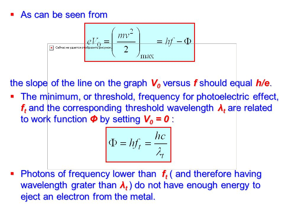 threshold frequency and wavelength relationship