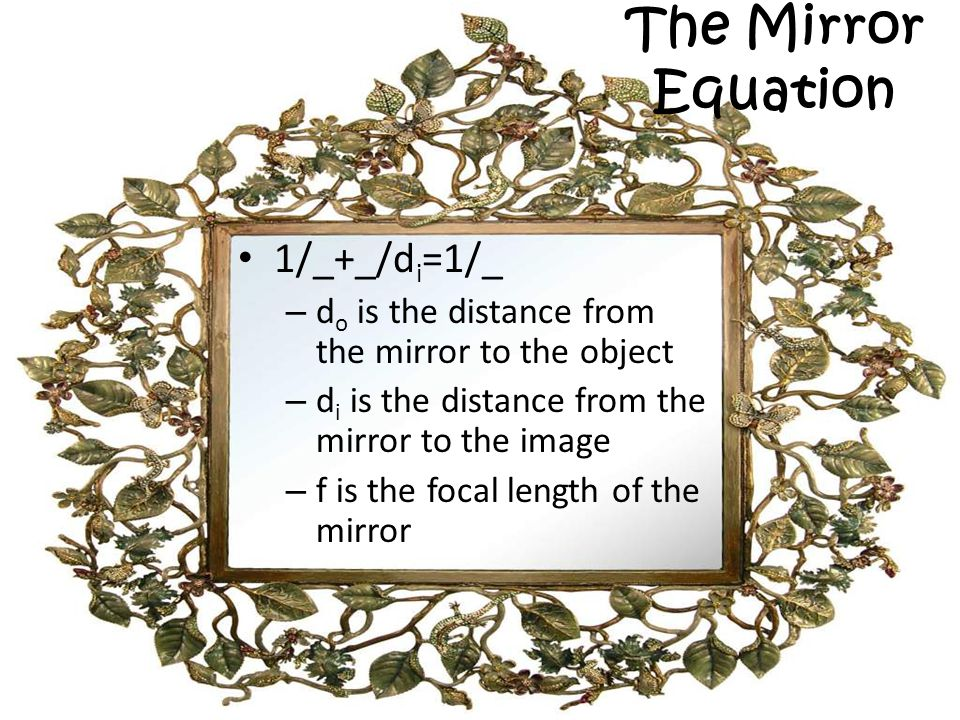 The Mirror Equation 1/_+_/di=1/_