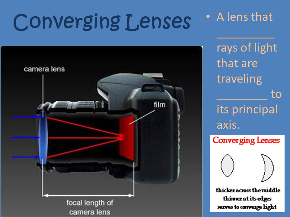 Converging Lenses A lens that _________ rays of light that are traveling ________ to its principal axis.