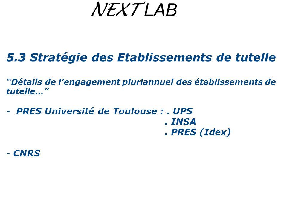 NEXT LAB 5.3 Stratégie des Etablissements de tutelle