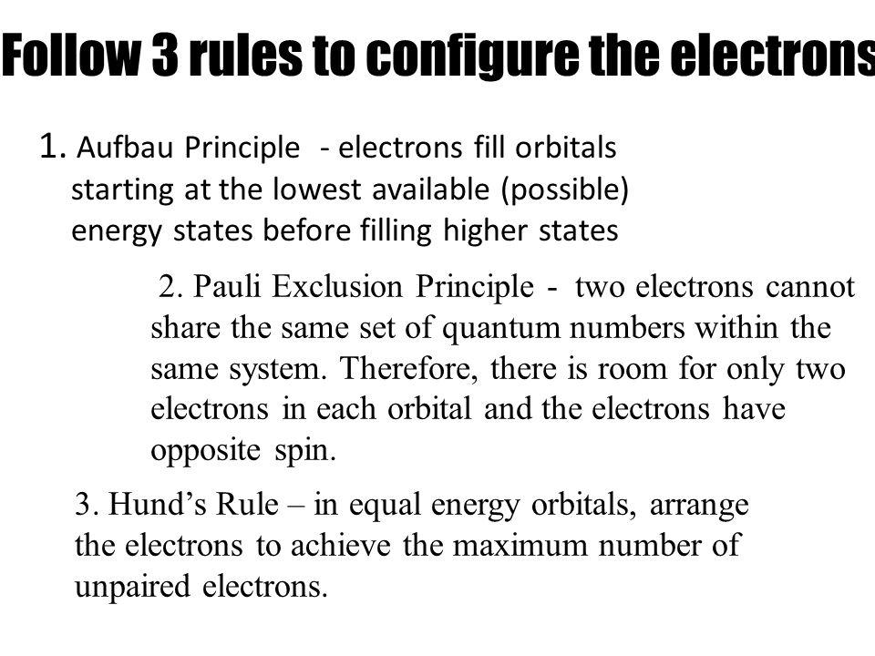 Follow 3 rules to configure the electrons