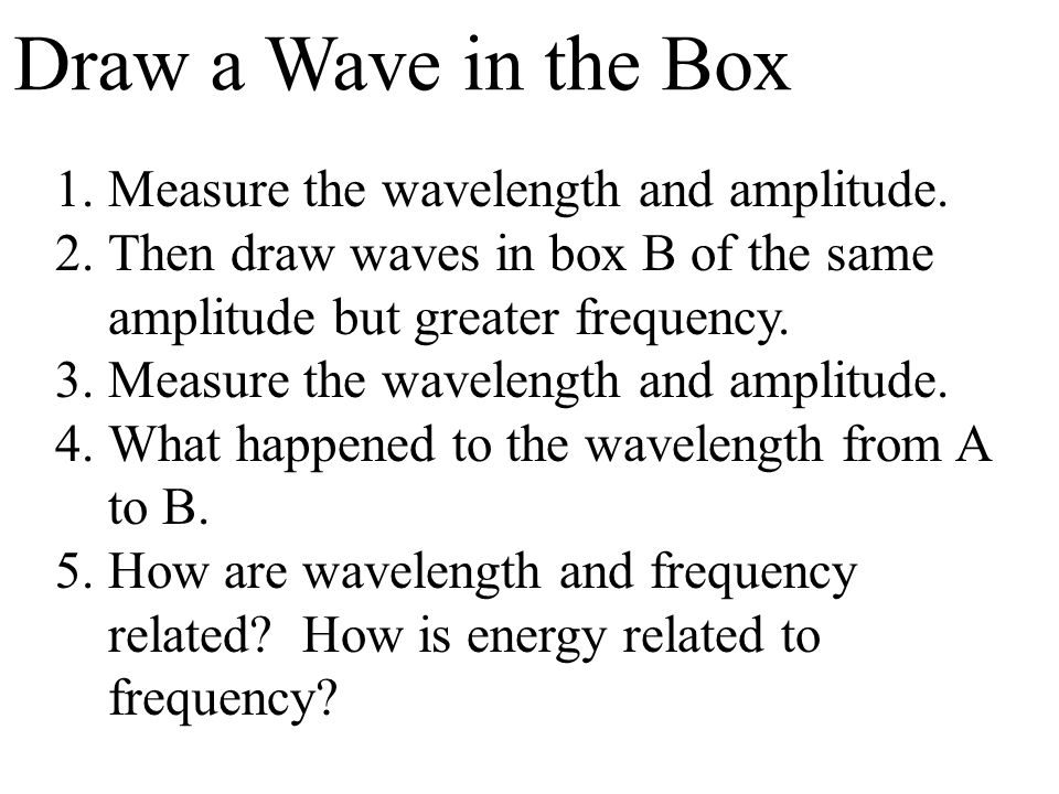 Draw a Wave in the Box Measure the wavelength and amplitude.