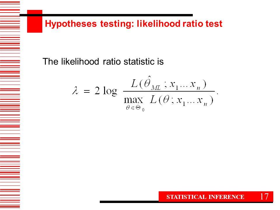 Hypotheses testing: likelihood ratio test