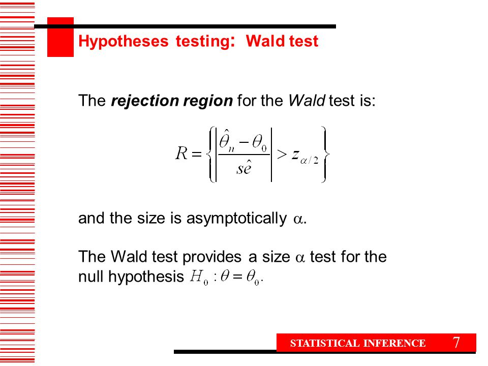 Hypotheses testing: Wald test