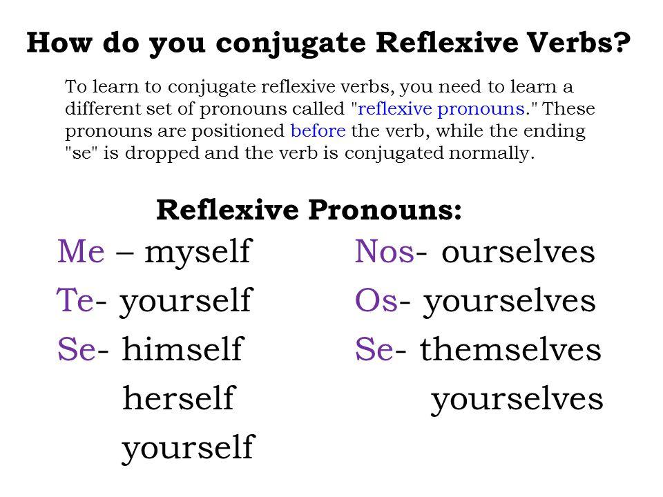 How do you conjugate Reflexive Verbs