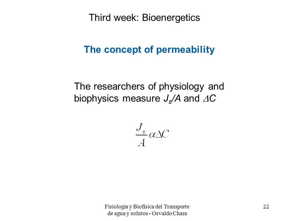 Third week: Bioenergetics