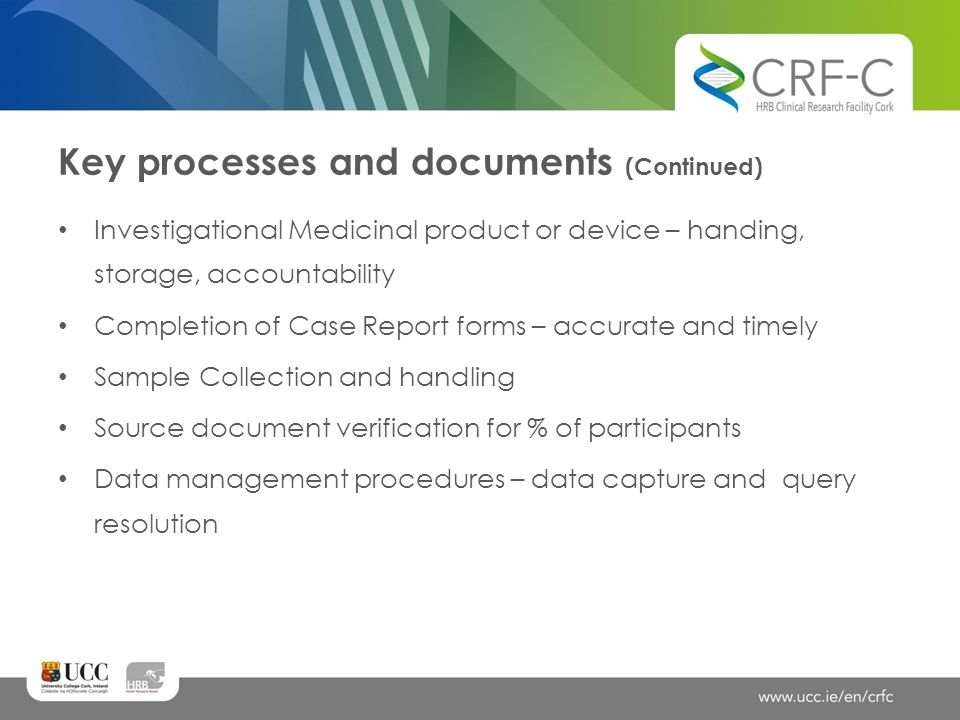 Key processes and documents (Continued)