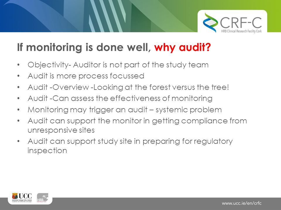 If monitoring is done well, why audit