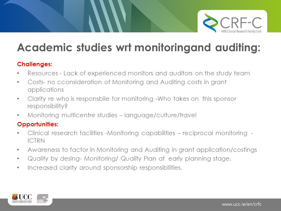 Academic studies wrt monitoringand auditing: