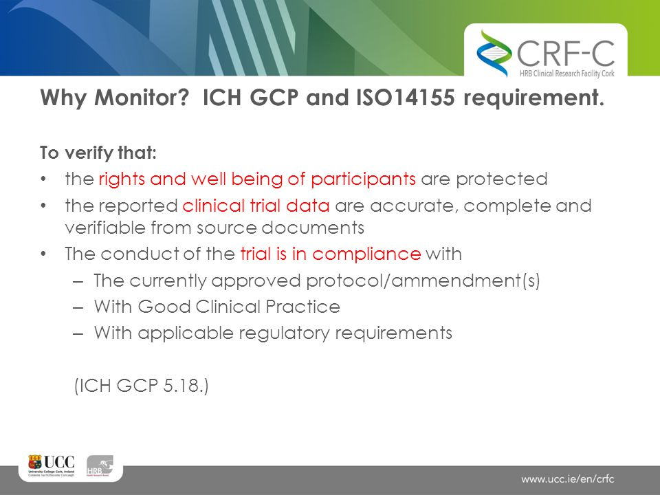 Why Monitor ICH GCP and ISO14155 requirement.