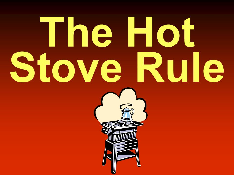 the hot stove rule of discipline Many managers consider progressive discipline as a necessary evil - an   protecting against legal action, consider douglas mcgregor's hot stove rule:   when you touch a hot stove, you know instantaneously that you have.