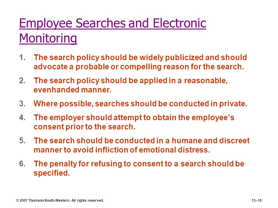 """electronic surveillance of employees Surveillance,"""" a term used interchangeably with """"employee monitoring"""" (ball, 2010, p 88) is an age-old practice, its contemporary methods in the united states have their roots in the transformation of the workforce in the mid-19."""
