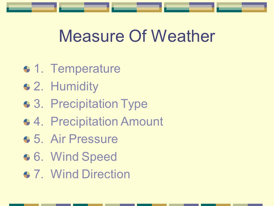 Measure Of Weather 1. Temperature 2. Humidity 3. Precipitation Type