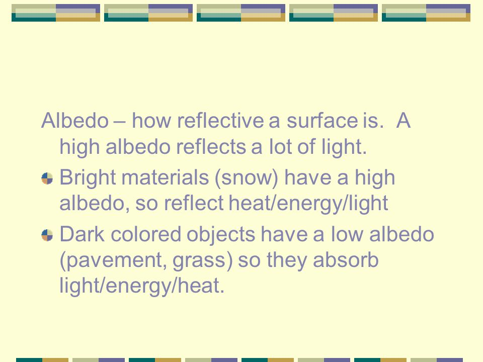 Albedo – how reflective a surface is