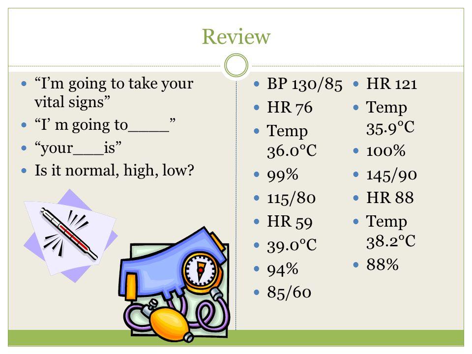 Review BP 130/85 HR 121 HR 76 Temp 35.9°C Temp 36.0°C 100% 99% 145/90