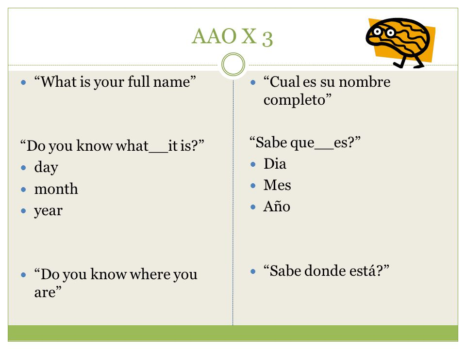 AAO X 3 What is your full name Do you know what__it is day month