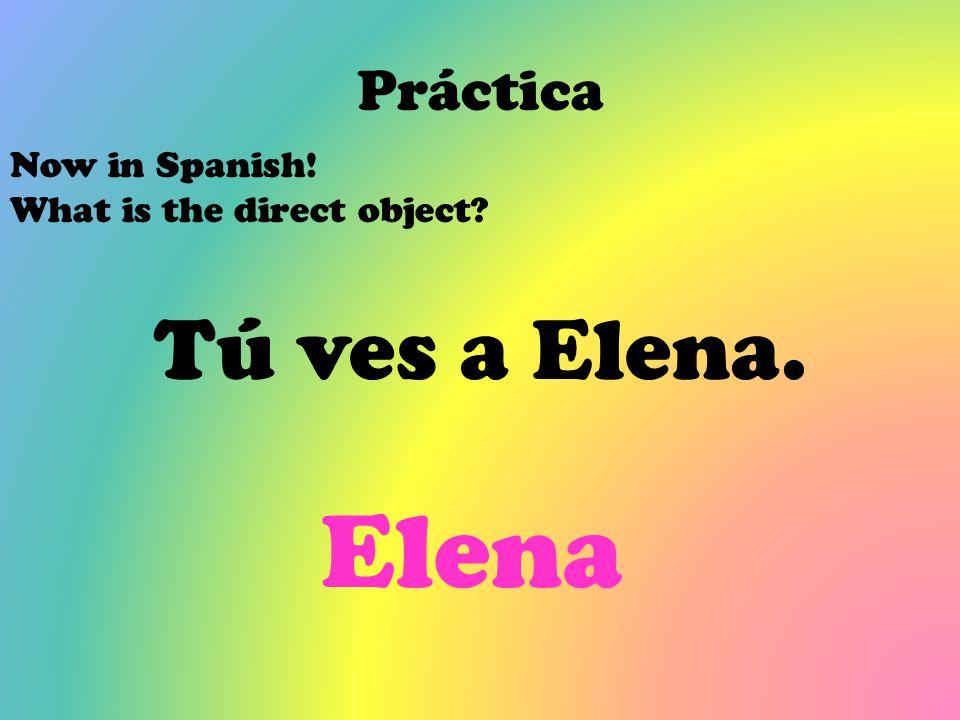 Elena Tú ves a Elena. Práctica Now in Spanish!