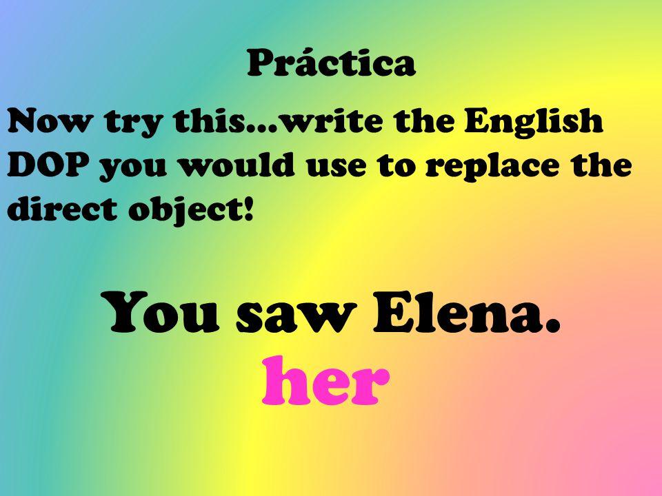 her You saw Elena. Práctica