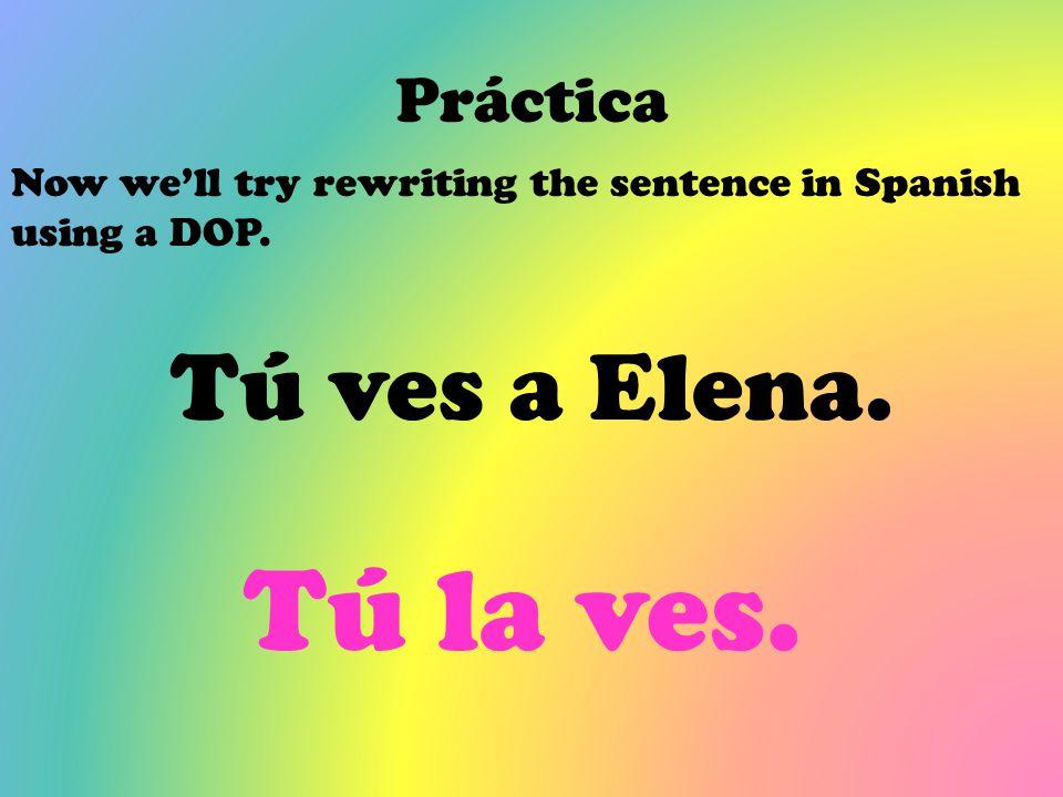 Tú la ves. Tú ves a Elena. Práctica
