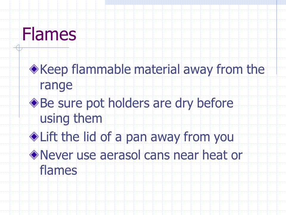 Flames Keep flammable material away from the range