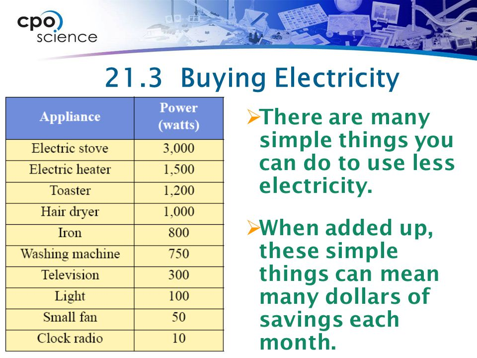 21.3 Buying Electricity There are many simple things you can do to use less electricity.