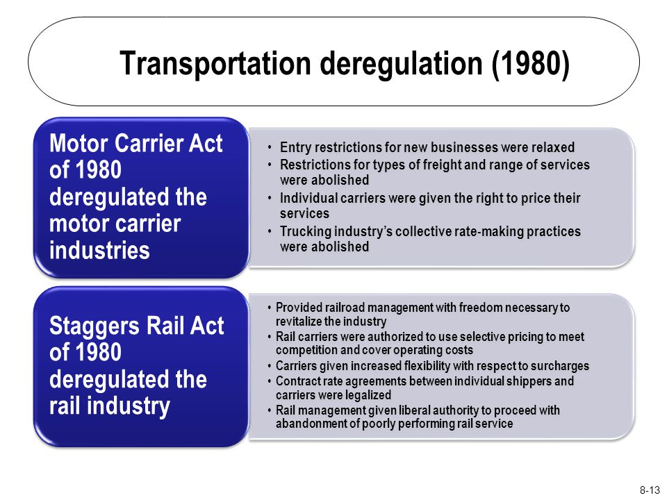 "the deregulation of the motor carrier industry According to cathy gautreaux, deputy administrator at the federal motor carrier safety administration, the motor carrier industry is ""on the cusp of revolutionary changes"" in the way freight and people are moved, and government regulations need to keep pace."