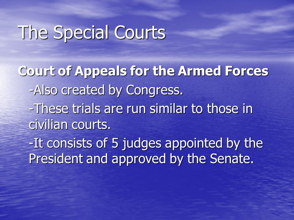 The Special Courts Court of Appeals for the Armed Forces