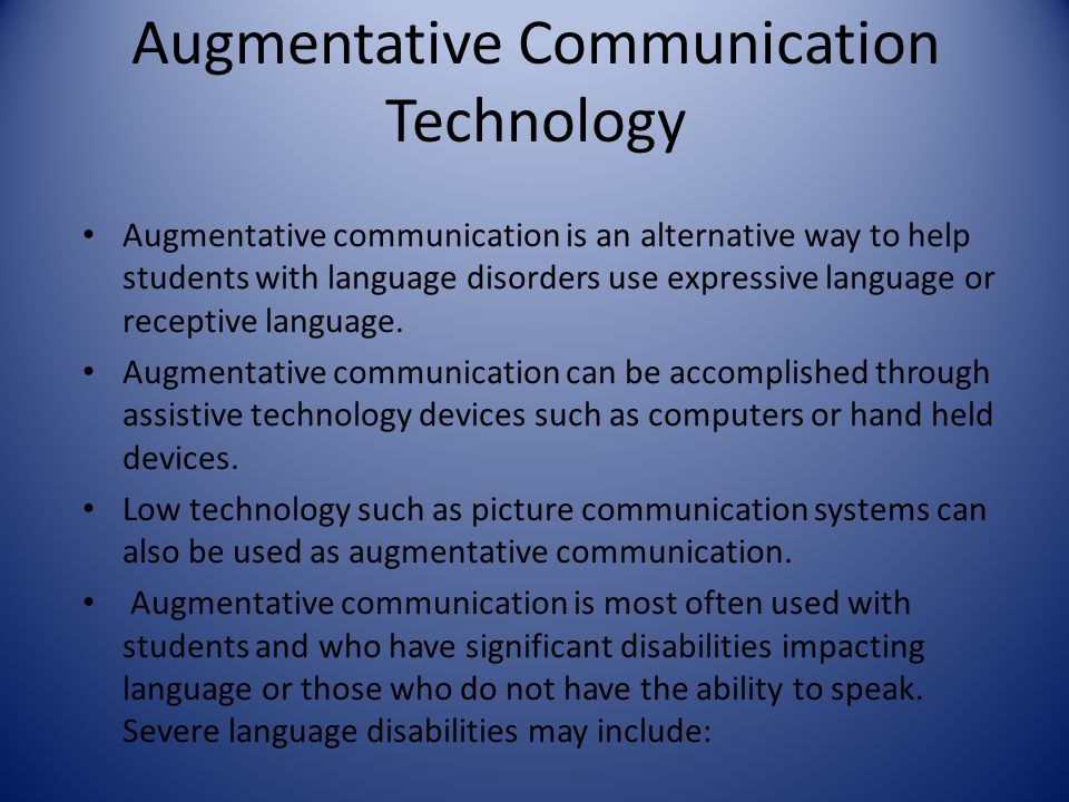 augmentative and alternate communication for students Download citation | augmentative and alt | this paper examines the role of augmentative and alternative communication (aac) in fostering the successful inclusion of students with the most.