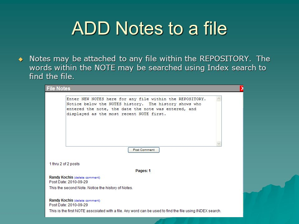 ADD Notes to a file